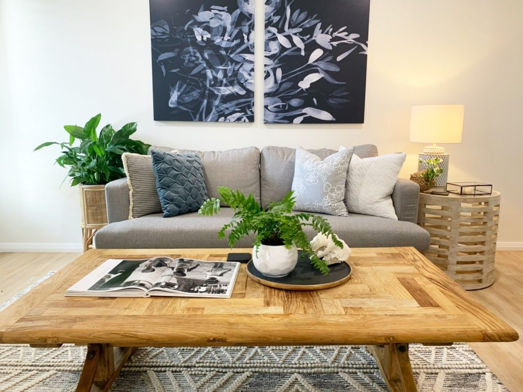 Declutter and styled space living room