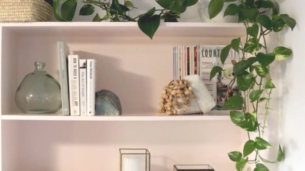 soft pink shelves in the DIY makeover